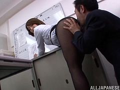 That ass is probably the best one in the office. So, she wants a private talk with her boss and bends over for him! He rubs his cock on her ass and cums on her nylons.