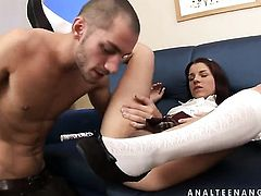 Redhead Angel Rivas enjoys dudes throbbing sausage deep inside her muff pie