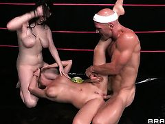 With huge breasts does her best to make hard dicked guy Johnny Sins ejaculate