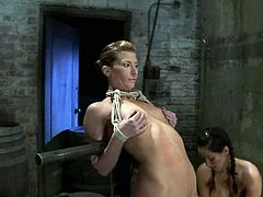 Bound Ariel X gets toyed by her master and mistress