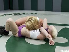 Two sweet blonde girls fight and then make some love