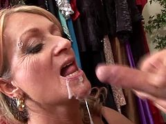 Insatiable mature blonde Joanna Depp wearing stockings is having fun with some stud. The guy pleases the mom with cunnilingus and then drills her cunt in cowgirl and missionary positions.