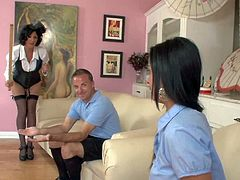 Dark haired elegant brunette Roxanne Hall as Mary Poppins spanks a boy and a girl with no mercy in this nice scene. Sweet sexy brunette Bebe Mendes in college uniform gets her butt slapped by strict milf.