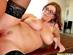 Ramon Nomar gets seduced by Brunette Sarah with huge tits and bald bush and then fucks her mouth