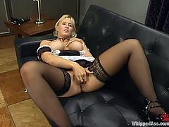 Big tittied blonde chick in housemaid uniform toys the pussy and fingers the ass. Later on she gets whipped and toyed with a strap-on by Chanta-Rose.