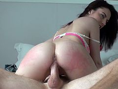 Lusty dark head chick with perky natural tits and round booty is riding solid pecker on top. She moves her body up and down intensively. Awesome Mofos Network porn video.