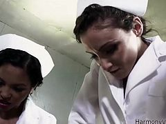 Lustful bombshell with stunning bodies are wearing sexy nurse costumes. They look extremely seductive. They seduce a patient and fuck her pussy with sex toy.