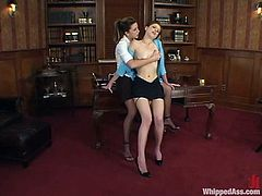 She really does need that job and seems like she has found out that the boss is a kinky lesbian! So, they find something in common and some hot lesbian action begins!