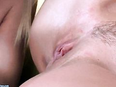 Blonde Honey Demon with big melons is curious about eating Kathia Nobilis lesbian sweet pussy hole