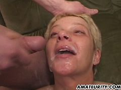 This mature whore with big natural tits loves to get herself a big messy cumshot. She has seen better days but that pussy has some mileage left in it.