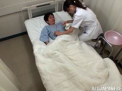 Sexy Asian girl in nurse uniform talks to the patient. She decides to give him some pleasure. So, she takes his dick out of his pants to give him a blowjob and a handjob.