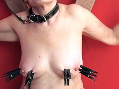 This four eyed slut knows how to teach her fat sex slave some good manners so she clamps clothespins on her tits. Check out this hot BDSM sex video and I'm pretty sure you will enjoy watching it.