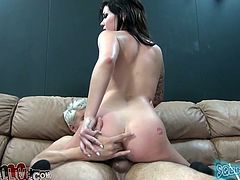 Pretty tattooed brunette shows her smooth pussy to some guy and allows him to lick and fuck it hard in missionary position. Then the dude splatters his jizz onto the skank's pussy and watches her rubbing her clit with a dildo afterwards.
