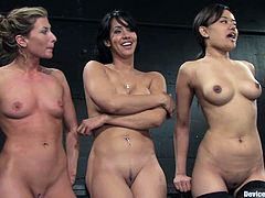 Annie Cruz, Isis Love and Ariel X are having fun with some guy in a basement. They show him their snatches and let him play with their hot depths.