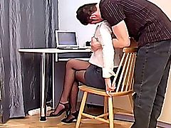Pretty secretary in ripped up sheer crotchless pantyhose getting fucked