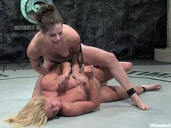 Ginger Lynn the blonde girl loses a fight to brunette Bobbi Starr one again. Ginger gets used to lick Bobbi's pussy. In addition she also gets toyed deep with a strap-on.