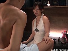 They have come from some dinner with friends and Wakaba Onoue feels so horny! Babe takes her man for a nice blowjob! Stunning!