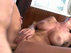 Experienced turned on stud Ralph Long with rock hard sausage fucks and licks black haired Brandy Aniston with big jaw dropping rack and great body to loud memorable orgasm.