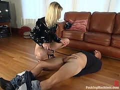Salacious blonde Phoenix is playing dirty games with a dude called RAM. He makes him rub her vag with a dildo and please her with cunnilingus and then gets her holes drilled by a fucking machine.