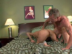 Casi James gets seriously banged on a king size bed