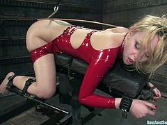 Super sexy and steaming hot babe Annette Schwarz wears a latex fetish suit and high heels to give something special to this BDSM sex story! Brandon Iron is going to amaze her!