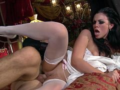 Naughty chick is drilled in her slick pussy hole in sideways position. She is hammered deep in her cunt from behind. Awesome fuck session right after the wedding ceremony.