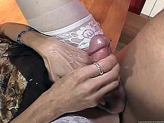 Lustful transsexual in stockings gives a blowjob to bald dude. After that this shemale gets fucked rough in the ass and then facialed.