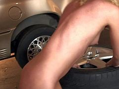 Pretty golden haired teen Nicki Blue with small titties and long legs gives head to Eric John in his garage and screams while he fucks her in tight sweet ass.
