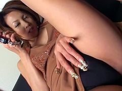 Watch this sexy brunette naughty Japanese milf teasing you and making you turn on by her looks and moves.She talks dirty and licks her own thumb.She then spreads her legs and rubs her pussy to make you harder, so you masturbate while watching her.