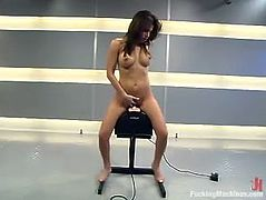 Hot brunette chick Sativa Rose strips and demonstrates her nice natural tits and awesome butt. Then she gets her coochie smashed by a fucking machine and seems to enjoy it much.