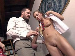Dirty teacher Ian Scott with meaty pecker and full balls seduces slender schoolgirl Morgan Moon and her classmate in sexy uniform and stretch her their tight honey pots in office.