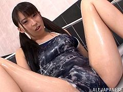 Slim Japanese teen Yuuki Itano wearing a swimsuit is having fun with some guy in jacuzzi. She shows her cock-sucking skills to the man and then gets her shaved cunt drilled from behind.