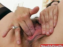 This horny granny is wearing her favorite nurse uniform and spreads her legs wide for you. She uses her favorite toy to experience deep orgasm in the office.