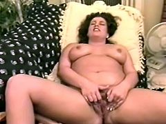 Fat chick fondles her boobs and vagina lying on a sofa. Then she sucks a dick and gets jizzed on her breast in POV video.