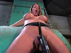 Bosomy chick Trina Michaels is having fun with her friend in a basement. She lets the man chain her and loves it the way he plays with her awesome pussy and asshole.