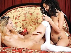 With trimmed pussy and Penelope have a lot of sexual energy to spend in girl-on-girl action