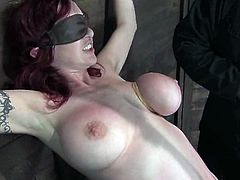 Bosomy redhead chick Mz Berlin is having fun with some guy in a basement. She lets the man tie her up and asks him to torture her.