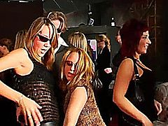 Nasty club chicks dancing erotically and getting nailed in public