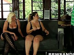 BBW Sandwish brings you an exciting free porn video where you can see how two BBW dommes take turns getting fucked by a slave while assuming very wild poses.