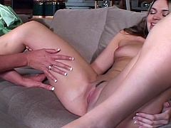 Watch this slutty lusty milf in green dress seduces young sweet blonde babe and strips off her naked to rub and finger her shaved tight pussy.She wears gloves to finger fuck her and lick her pussy then they both enjoy double headed dildo in their hot and horny slit.