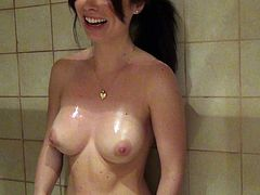 Check out steamy POV scene by Mofos Network! Shapely brunette with gorgeous boobs takes shower teasing with her curves and then giving terrific blowjob on her knees.