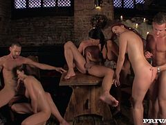 Lustful girl Mira Sunset and her girlfriends enjoys group sex orgy
