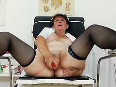 This horny nurse know how to have fun with her old cunt. She takes off her uniform and uses various toys to experience one of the deepest orgasms in her life.