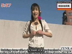 Bizarre outdoors reporting by a topless sable haired Japanese newscaster who stretches the limits of audaciousness by showing off a unique way to stay warm in the colder months by rubbing a dry towel over her exposed gooseprickled skin while liv