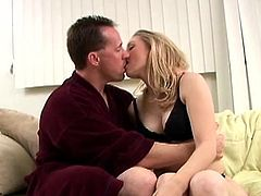 Cute blonde milf Kayla Crawford is trying hard to satisfy her man. She sucks and rubs his hard wang and then gets fucked in cowgirl and other positions.