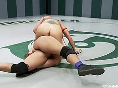 Four kinky lesbians eat each other's cunts during a catfight on tatami