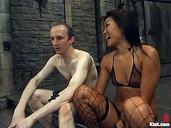 This juicy and luscious siren Lucy Lee is going to feel so damn good, when she sees that male sex slave tied up already! Babe humiliates him so hard!