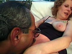 Mature slut Diana Roth can't get satisfied just from her husband so he invites big black cock to destroy he hairy beaver. This black dude destroyed her hairy beaver