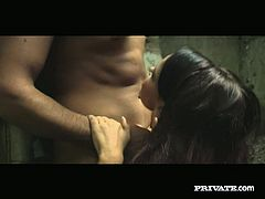 Smoking hot brunette Cristina Bella gives her lover a nice blowjob