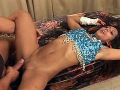 Kinky Stefany B poses in traditional Indian clothes. Then she sucks the guy off and gets her vagina licked. After that she gets fucked deep and hard in her vagina.